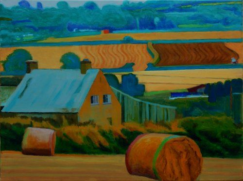 Working landscape, Mid Cornwall painting by Tom Henderson Smith approx 60 x 80 cms. Acrylic on stretched canvas