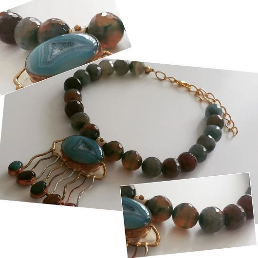 Jade beads &  big Turquoise Copper- Gold Plated Charm necklace by Chiki Design