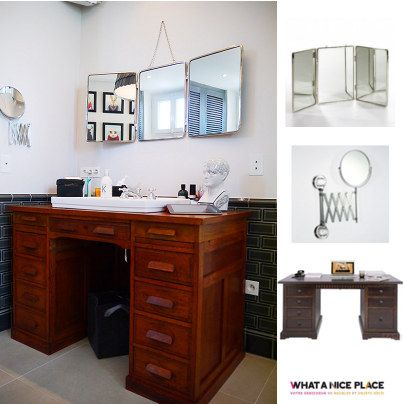 Tired of classic bathrooms? Convert your old desk in a retro bathroom furniture!