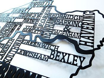 London Typography Paper Cut Framed Map