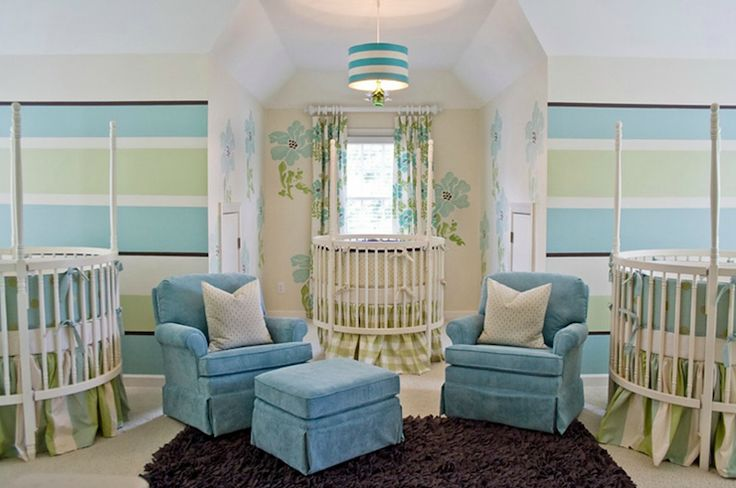 Lucy and Company: Adorable gender neutral nursery for triplets with green & blue horizontal striped ...