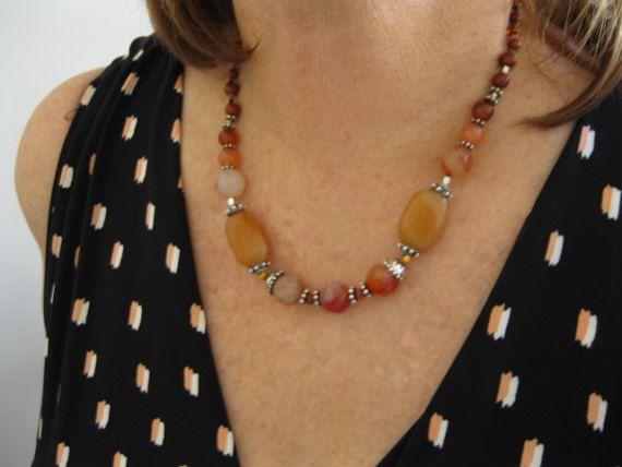 Chunky Orange Red Facetted Agate Jasper Jade Carnelian