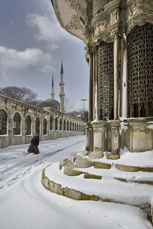 Not to many tourists in winter, but look how beautiful it is by the Topkapi Palace when a rare snowfall happens.(Turkey)~ zϮ ~