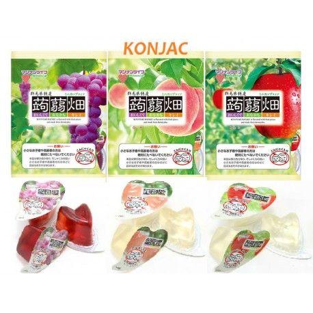 KONJAC Jelly apple, grappe and peach, natural and healthy Gelée de KONJAC au raisin, pomme et pêche, naturel et bon pour la santé
