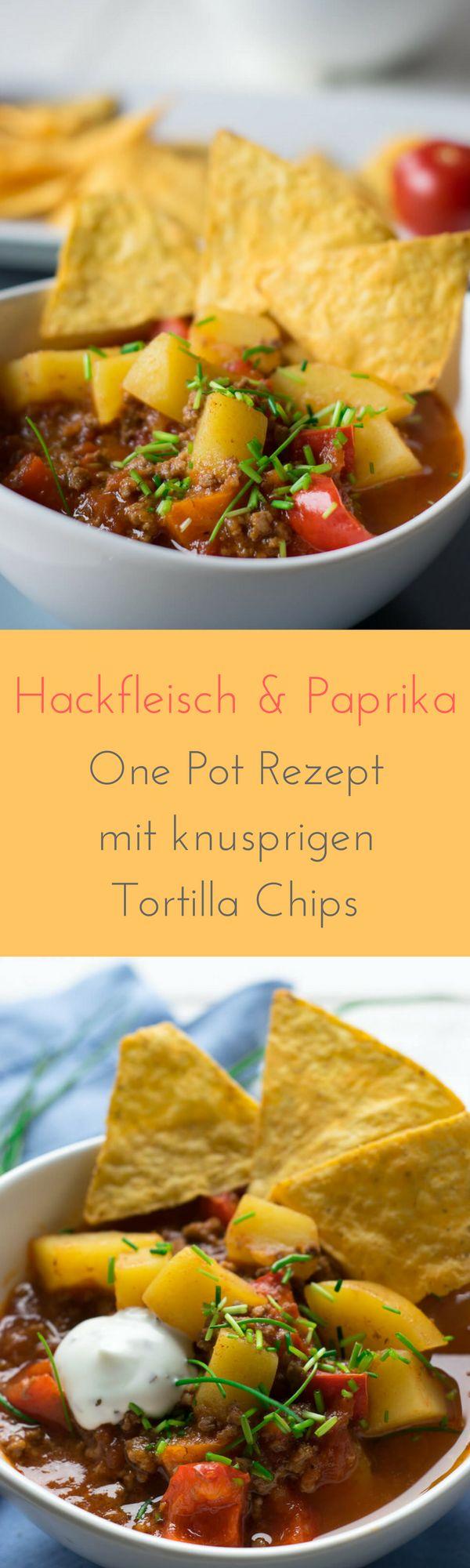 Paprika-Hackfleisch Topf mit Nachos zum Dippen