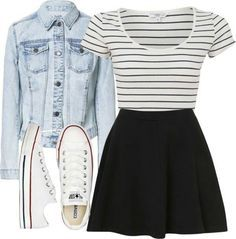 black skirt, black and white striped shirt, white sneakers, jean jacket spring summer fall