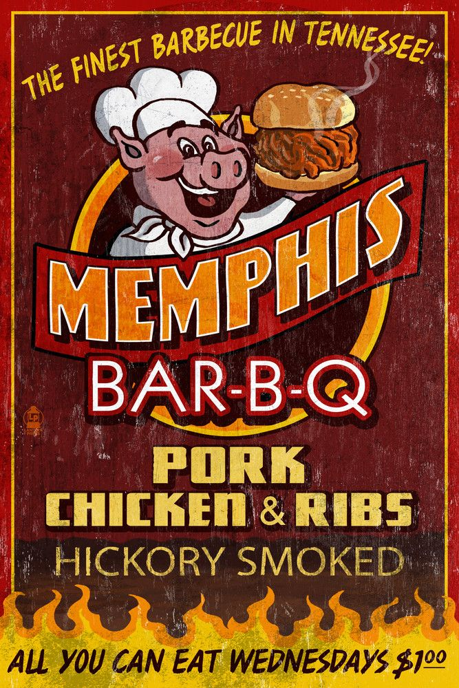 Memphis, Tennessee - Barbecue Vintage Sign - Lantern Press Artwork