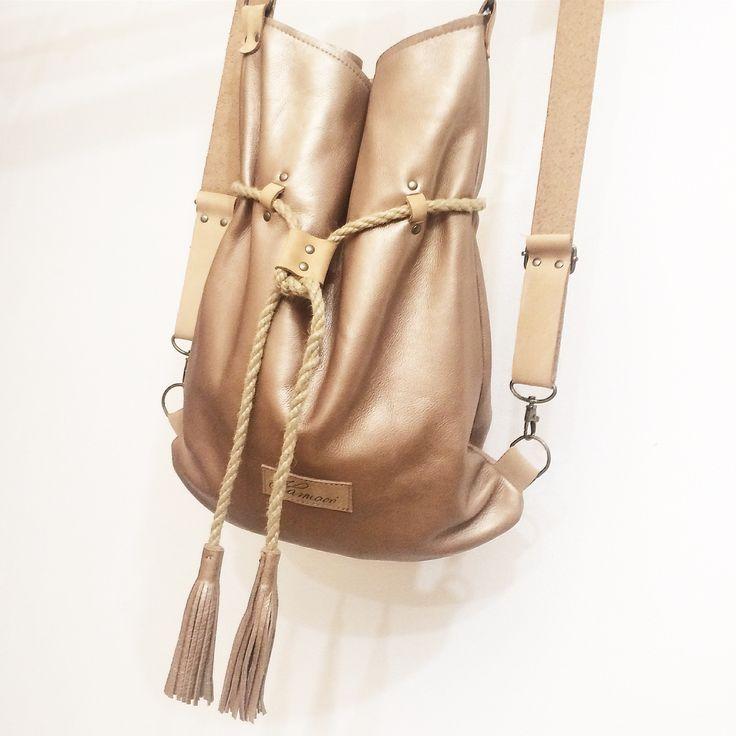 Goldish leather Karmacs backpack/totebag