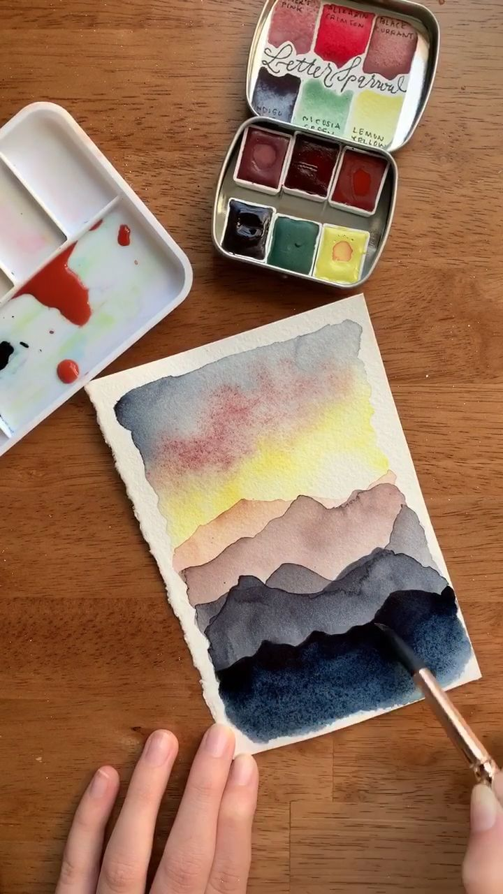Watercolor mountain sunset 🌅