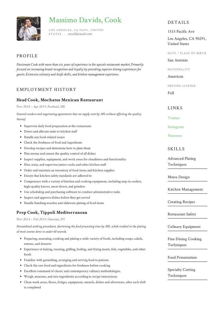 cook resume example  resume writing tips resume writing