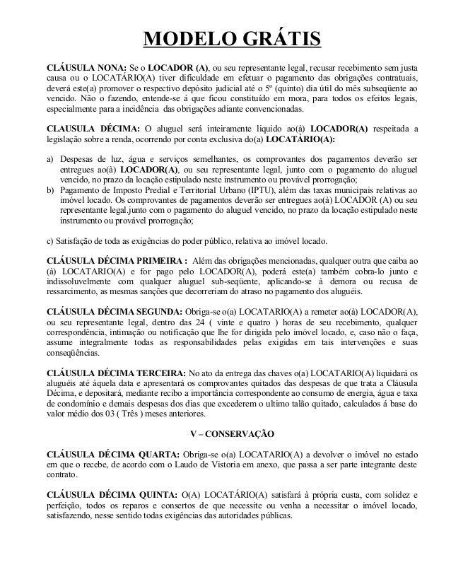 Arquivo CONTRATO DE ALUGUEL.doc enviado por Edilson. Sobre: Modelo de Contrato de Aluguel