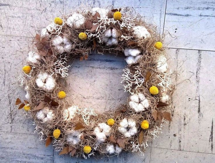 """14"""" Cotton Wreath - Natural Colors Wreath - Year Round Wreath - Hanging Wreath - Perfect For Fall Decoration"""