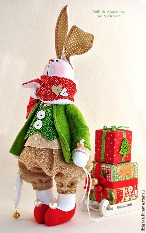 Игрушки животные, ручной работы. Ярмарка Мастеров - ручная работа Белый рождественский кролик. Handmade.