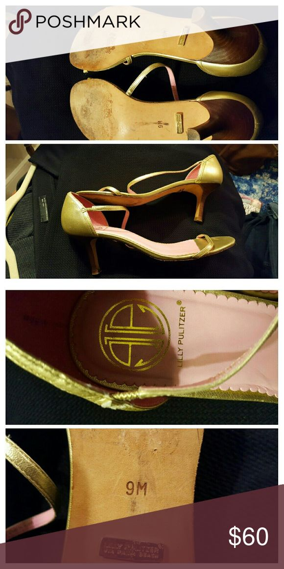 """Lilly Pulitzer Vintage Gold Strap Heels 2"""" heels...used but in excellent condition...size 9m...comfy Lilly Pulitzer Shoes Heels"""