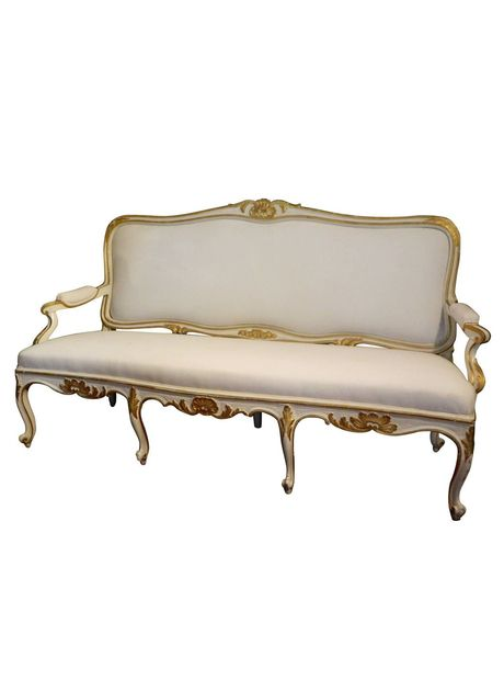 Gustavian painted and parcel gilt canape or sofa 19th for Canape shells