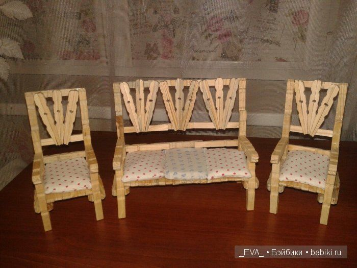 Мебель для кукол из прищепок / Домики для кукол, мебель своими руками. Коляски, кроватки и другое / Бэйбики. Куклы фото. Одежда для кукол