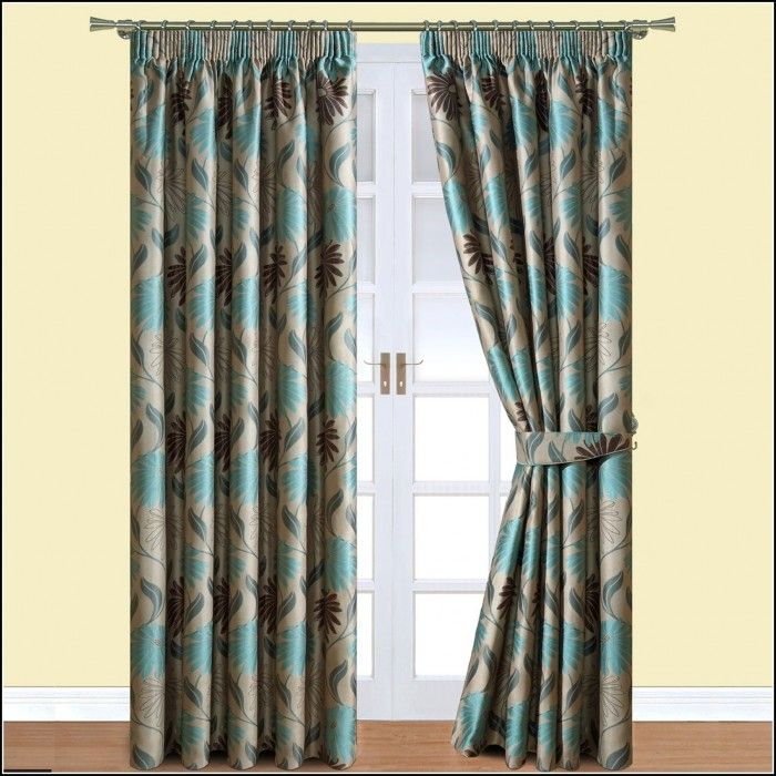 Teal And Brown Eyelet Curtains