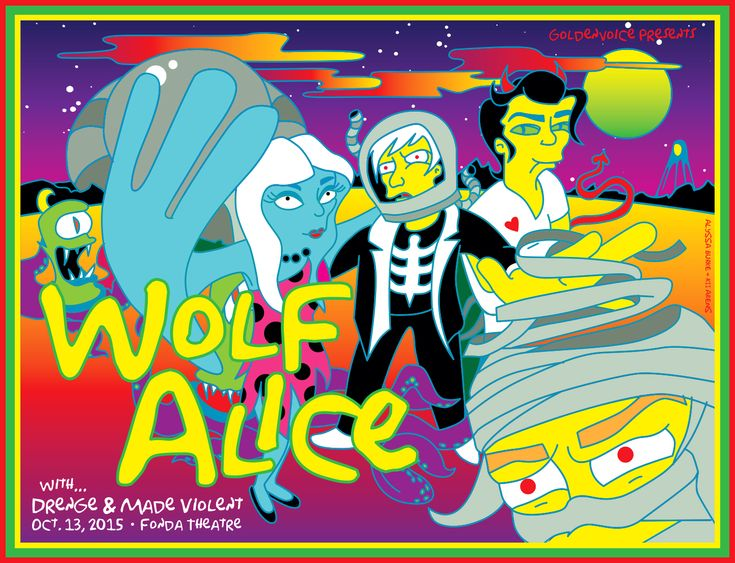 WOLF ALICE Los Angeles, CA Artwork by Kii Arens 24″ x 18″ Fluorescent Lithograph