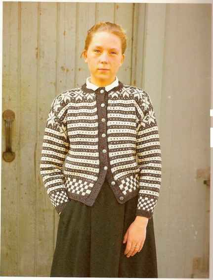 Norwegian cardigan - I did a double-take on this photo. She could be a twin to my cousin Lillian (lily) Christenson - dc. A great likeness.