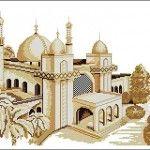 "Free cross-stitch pattern ""Mosque"" | Cross-Stitch Club"