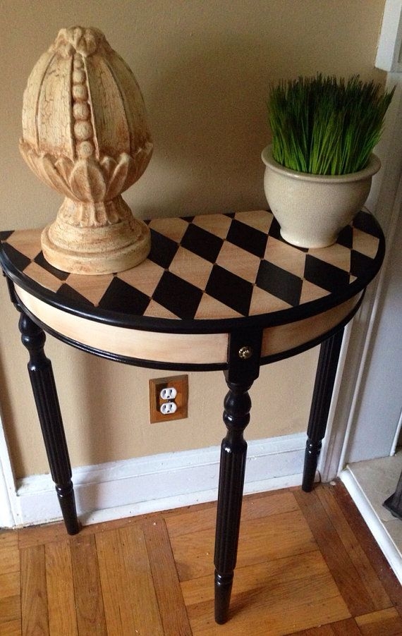 Hand Painted Console Table Harlequin Design by ColorfulHomeDesigns, $110.00