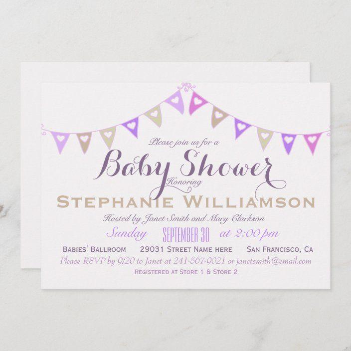 Pastel Bunting Baby Shower Invitation Zazzle Com In 2021 Birthday Invitations Invitations Free Birthday Invitations