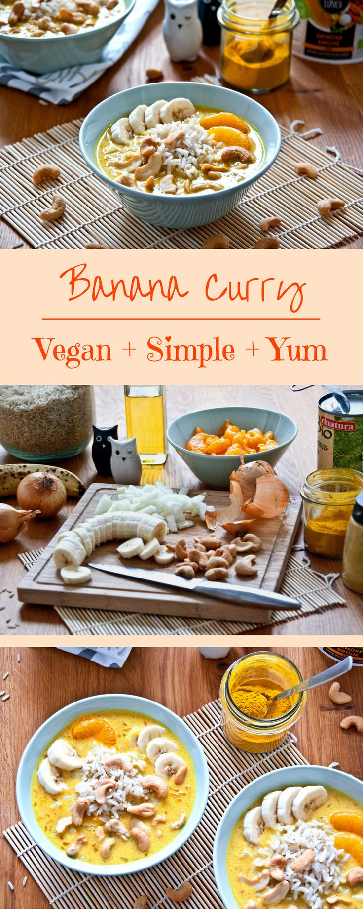 Super simple vegan banana curry with coconut, tangerines and whole grain rice