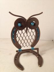 owl made from used horseshoes metal art horseshoe art