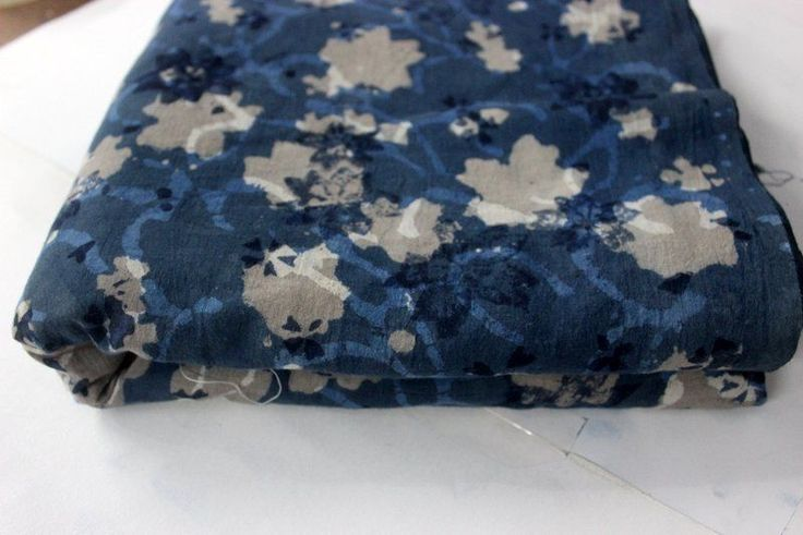 Indian Hand Printed Cotton Fabric Anokhi Indigo Blue Floral Print Fabric India