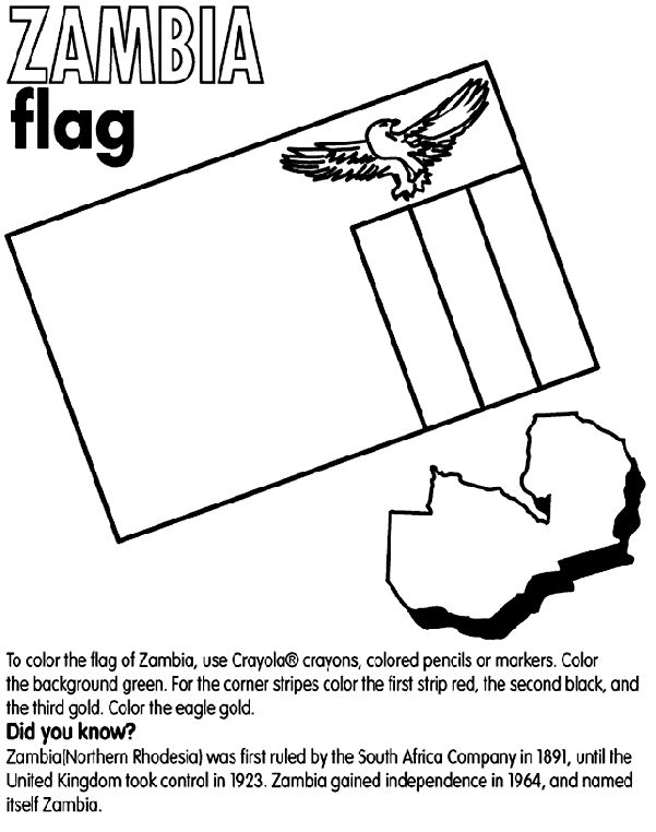 Zambia Flag Coloring Page