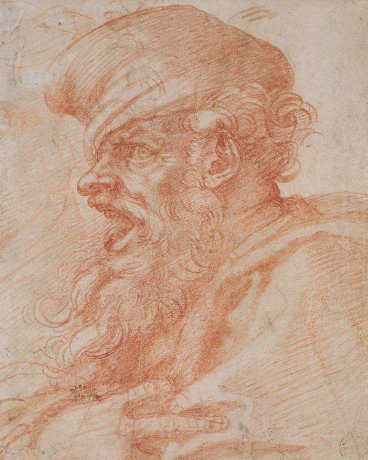 Disegni di figure umane: Testa di un uomo barbuto che grida
