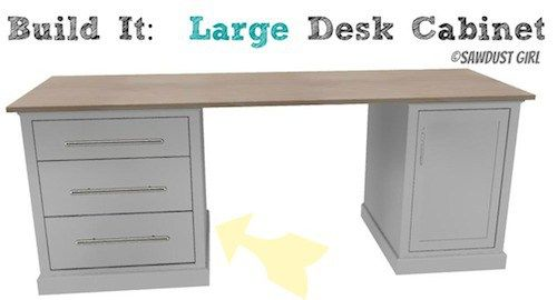 DIY Office Furniture Plans - large desk cabinet