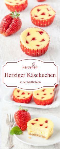 Receita de muffins de cheesecake com corações de morango   – Geschenke aus der Küche