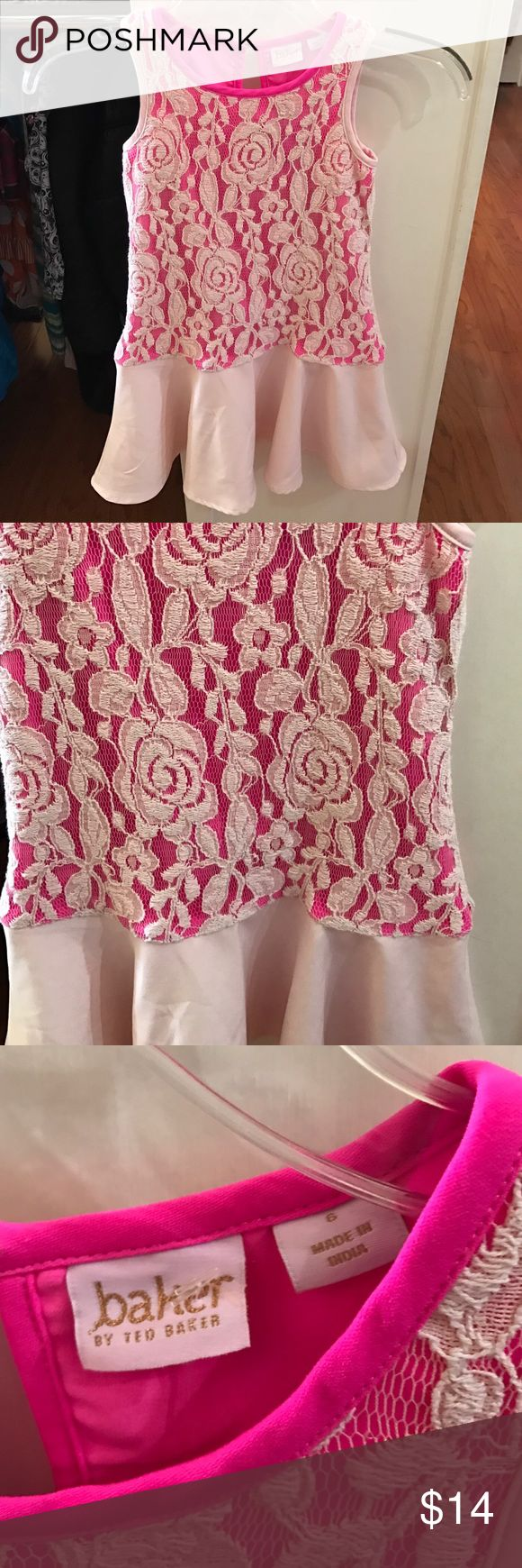 Baker by Ted Baker Dress Girls Pink with floral lace, sleeveless, button back closure. Great condition Baker by Ted Baker Dresses Casual