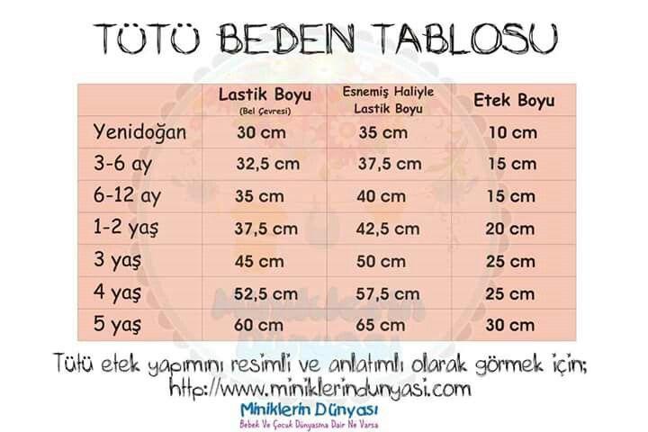 Tütü beden ölçüsü