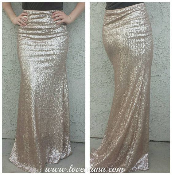 5402c21763 Matte Champagne Maxi Skirt - Gorgeous high quality sequins - Long skirt - S  M L XL (Handmade in LA!) Ships asap! Runs small | I want that | Sequin maxi,  ...