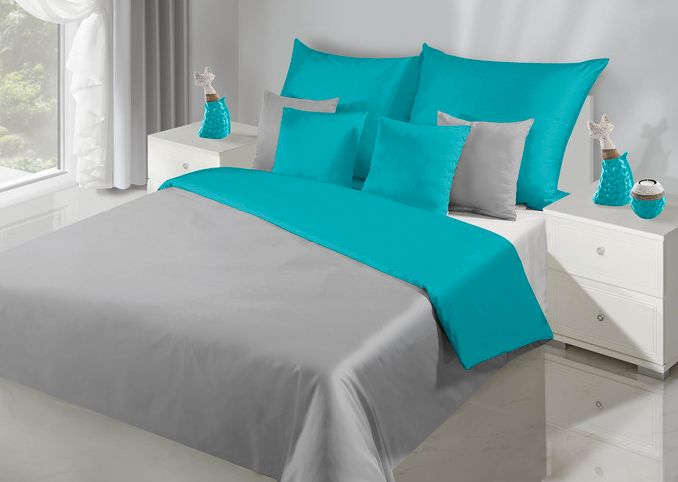 Srebrno turkusowa pościel 160x200 do sypialni