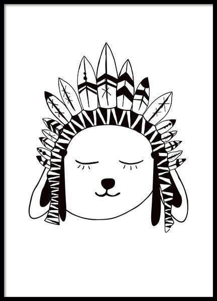 Poster in Schwarz-Weiß mit Graphic art-Motiv eines Kaninchenhäuptlings, ideal für das Kinderzimmer. Es passt aber auch wunderschön in alle anderen Räume und lässt sich zum Beispiel mit dem Tipi tent-Poster oder dem Indian arrows-Poster kombinieren. www.desenio.de