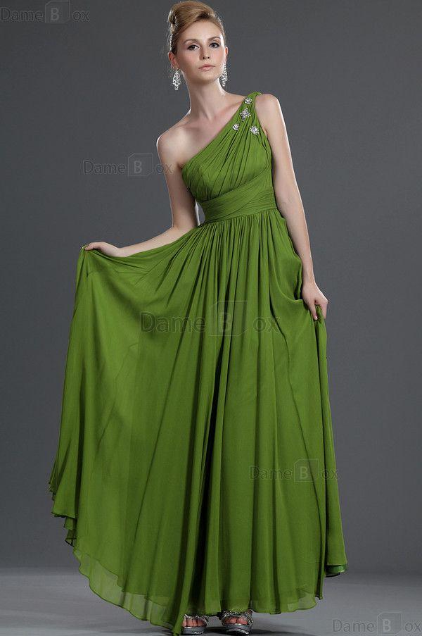 Etui Ein Schulter Chiffon extravagantes Abendkleid mit Perlen - Damebox.com