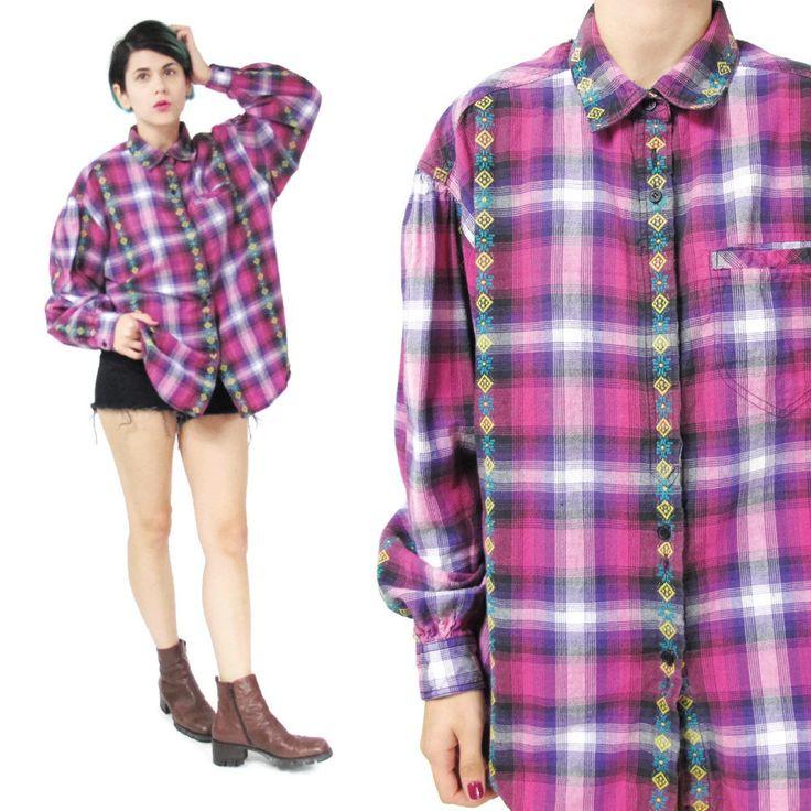 New to honeymoonmuse on Etsy: 90s Grunge Plaid Shirt Womens Plaid Flannel Shirt Embroidered Pink Plaid Shirt Cotton Button Down Shirt Checkered Long Sleeve Shirt (L/XL) (38.00 CAD)