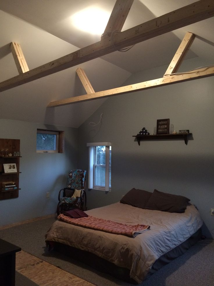 17 best ideas about exposed trusses on pinterest wood for Vaulted ceiling exposed beams