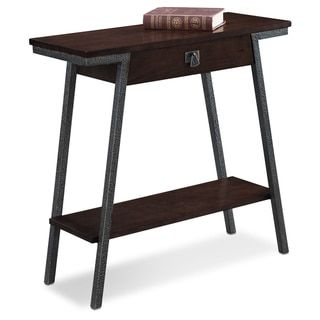 Contemporary Hall Console Table with Extending Drawer and Lower Storage Shelf with Bronzed Legs and Brown Walnut Finish - Free Shipping Today - Overstock.com - 18687680 - Mobile