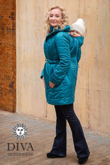 4in1 Babywearing Winter Coat Diva Mare.  Winter coat for front carrying, back carrying, regular use or during pregnancy.