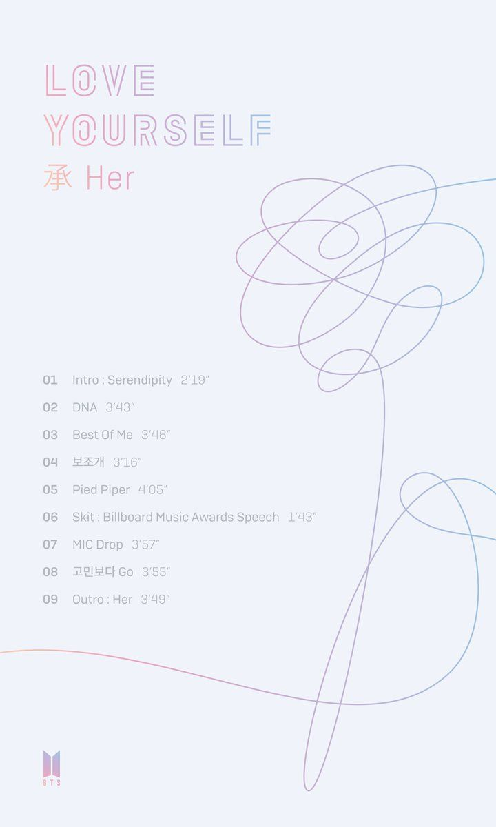 """On September 13, BTS shared the track list of their new mini album """"Love Yourself 承 'Her'""""."""