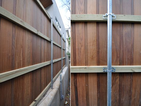 Take don't that nasty chain link fence... but use the metal posts to make a wood fence.  I promise it is easy and it will look a million times better!!