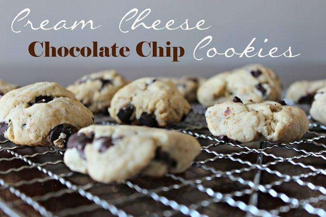 Cream Cheese Chocolate Chip Cookies. Great way to use up leftover cream cheese!