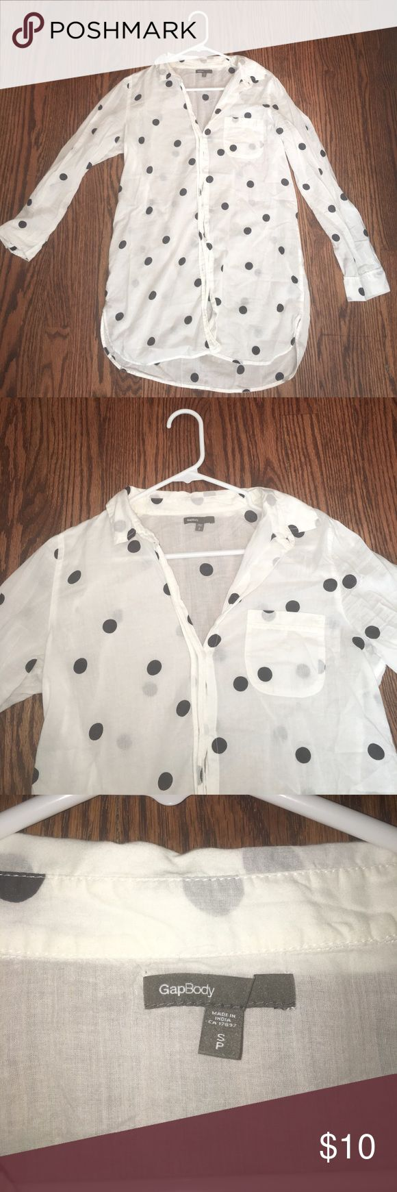 GapBody White and Navy Polka-Dot Blouse Sheer, soft material. Navy polka-dots. Button-up. Front pocket. Sleeves can roll up. Great condition, barely worn. GAP Tops