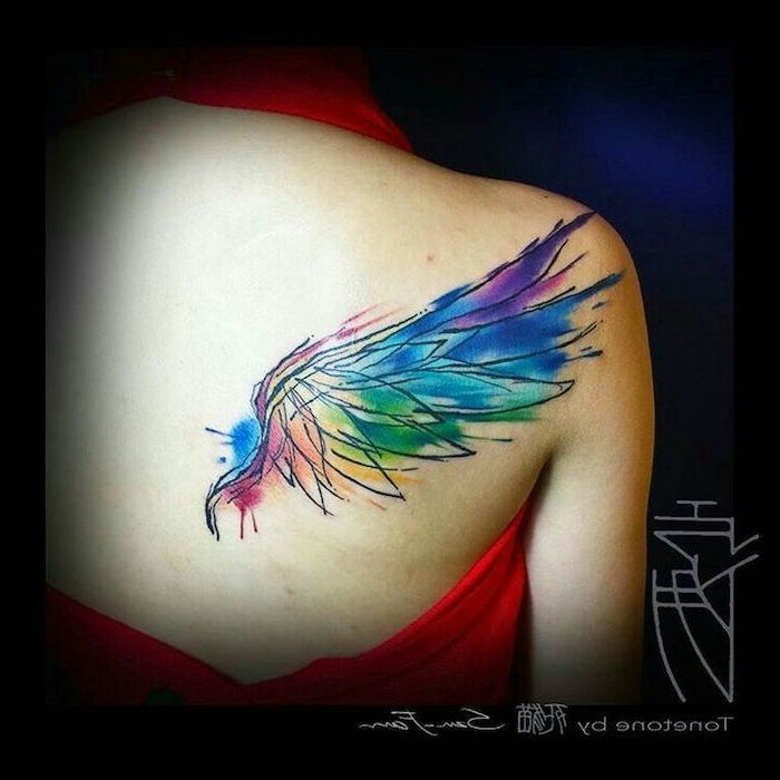 Watercolor Back Shoulder Tattoo Heaven Tattoos Colors Of The Rainbow Red Dress Black Background In 2020 Wings Tattoo Angel Wings Tattoo Heart With Wings Tattoo