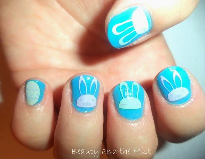 Beauty and the Mist - everything about beauty: Easter manicure with Bunny water Decals, a Gift on my wrist and a sweet surprise from a Blogger friend