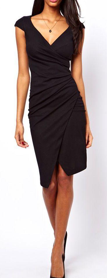 Asymmetrical Hem Dress == Women, Men and Kids Outfit Ideas on our website at 7ootd.com #ootd #7ootd